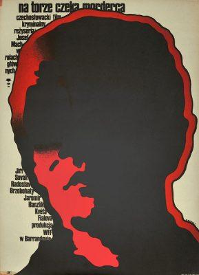 """Polski plakat filmowy do czechosłowackiego kryminału """"Na torze czeka morderca"""". Reżyseria: Josef Mach. Projekt plakatu: Mieczysław Wasilewski"""