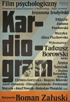 """Polski plakat filmowy do polskiego filmu """"Kardiogram"""". Reżyseria: Roman Załuski. Projekt plakatu: Jan Młodożeniec"""