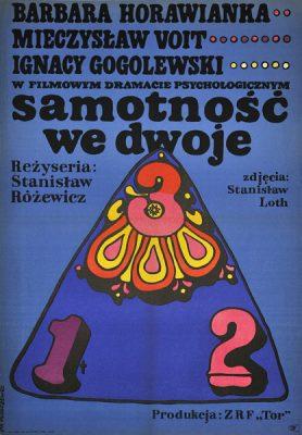 """Polski plakat filmowy do filmu """"Samotność we dwoje"""". Reżyseria: Stanisław Różewicz. Projekt plakatu: Jan Młodożeniec"""