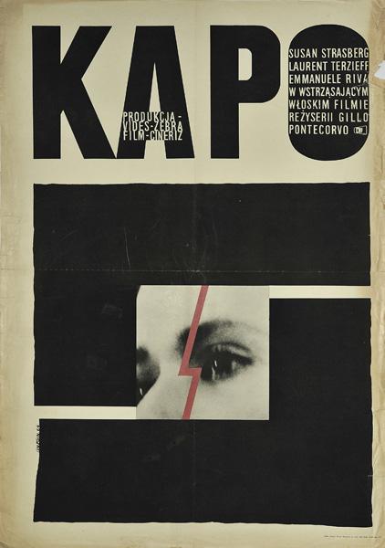 """Polski plakat filmowy do filmu włoskiego """"Kapo"""". Reżyseria: Gillo Pontecorvo. Projekt plakatu: Andrzej Onegin-Dąbrowski 1964."""