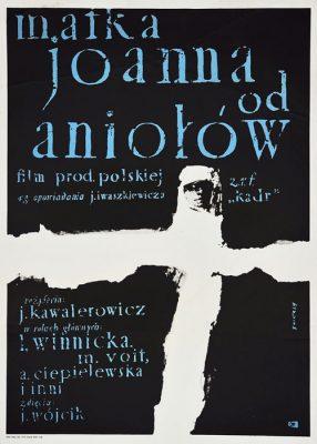 """Oryginalny polski plakat filmowy z 1979 r. do filmu polskiego """"Matka Joanna od aniołów"""". Reżyseria: Jerzy Kawalerowicz. Projekt plakatu: Waldemar Świerzy 1961."""