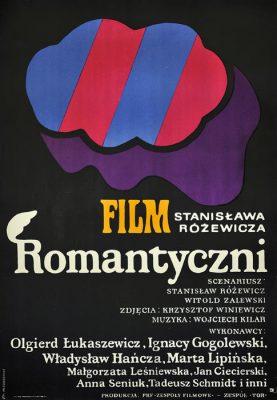 """Oryginalny polski plakat filmowy do filmu polskiego """"Romantyczni"""". Reżyseria: Stanisław Różewicz. Projekt plakatu: JAN MŁODOŻENIEC"""