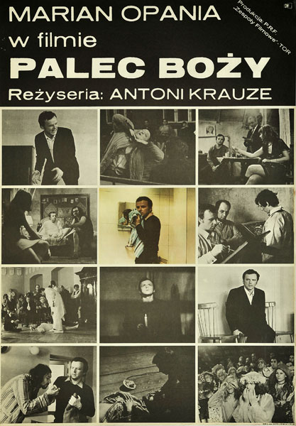 """Polski plakat filmu polskiego """"Palec boży"""". Reżyseria: Antoni Krauze. Projekt plakatu: Andrzej Krauze"""