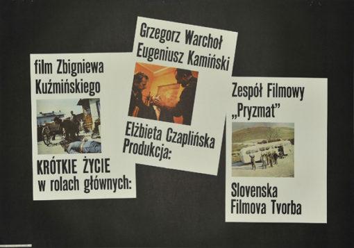 """Polski plakat do filmu polskiego z 1976 r. """"Krótkie życie"""". Reżyseria: Zbigniew Kuźmiński."""
