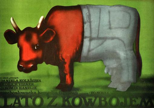 """Oryginalny polski plakat filmowy do czechosłowackiej komedii """"Lato z kowbojem"""". Reżyseria: Ivo Novak. Projekt plakatu: KRZYSZTOF NASFETER"""