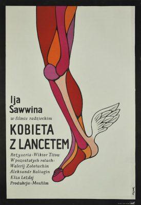 """Plakat filmowy do radzieckiego filmu """"Kobieta z lancetem"""". Reżyseria: Wiktor Titow. Projekt plakatu: JERZY FLISAK"""