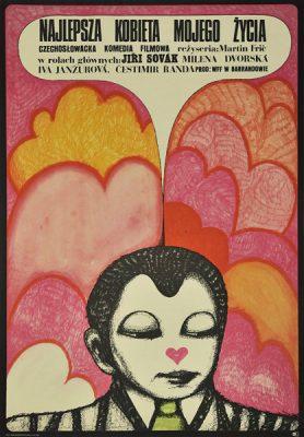 """Plakat filmowy do czechosłowackiej komedii """"Najlepsza kobieta mojego życia"""". Reżyseria: Martin Fric. Projekt plakatu: HANNA BODNAR"""