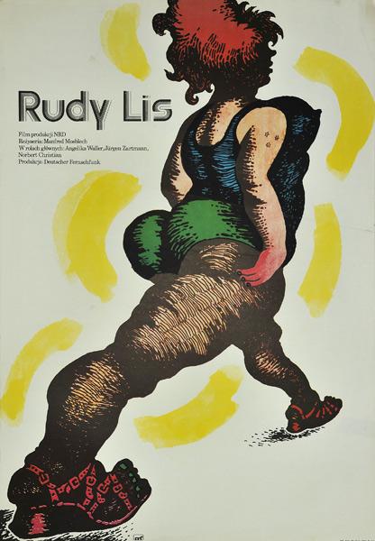 """Oryginalny polski plakat filmowy do niemieckiego filmu """"Rudy lis"""". Reżyseria: Manfred Mosblech. Projekt plakatu: ANDRZEJ PIWOŃSKI"""