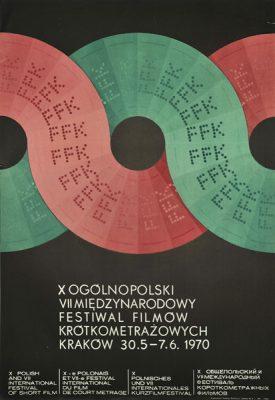 Oryginalny polski plakat zapowiadający X Ogólnopolski VII Międzynarodowy Festiwal Filmów Krótkometrażowych w Krakowie w dniach 30.05 - 7.06.1970r. Projekt plakatu: MIECZYSŁAW GÓROWSKI