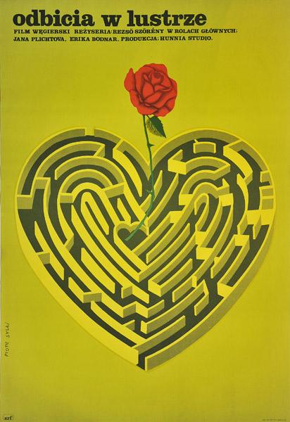 """Plakat filmowy do węgierskiego filmu """"Odbicia w lustrze"""". Reżyseria: Rezso Szoreny. Projekt plakatu: PIOTR SYSKI"""