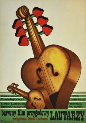 """Plakat filmowy do radzieckiego filmu przygodowego """"Lautarzy"""". Reżyseria: Emil Lotianu. Projekt plakatu: ROMUALD SOCHA"""