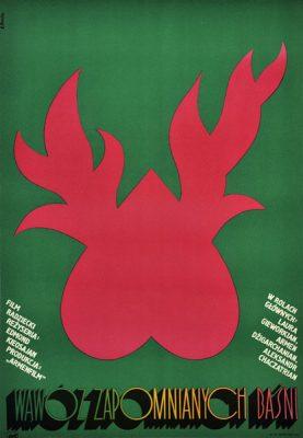 """Plakat filmowy do radzieckiego filmu """"Wąwóz zapomnianych baśni"""". Reżyseria: Edmond Kieosajan. Projekt plakatu: ELŻBIETA PROCKA"""