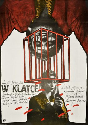 """Oryginalny polski plakat filmowy do polskiego filmu """"W klatce"""". Reżyseria: Barbara Sass. Projekt plakatu: Andrzej Pągowski"""