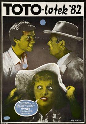 """Plakat filmowy do radzieckiego filmu """"Toto-lotek '82"""". Reżyseria: Leonid Gajdaj. Projekt plakatu: Marek Płoza Doliński"""