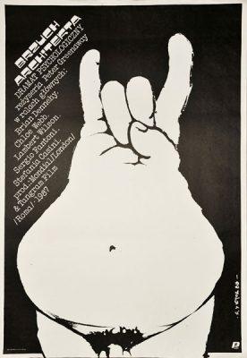 """Plakat filmowy do filmu angielsko-włoskiego """"Brzuch architekta"""". Reżyseria: Peter Greenaway. Projekt plakatu: Jakub Erol"""