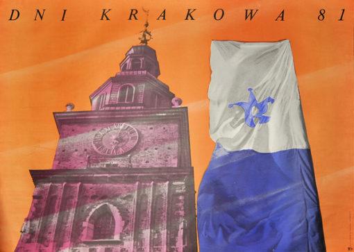 Oryginalny polski plakat reklamujący dni Krakowa w 1981. Projekt plakatu: Wacław Klag