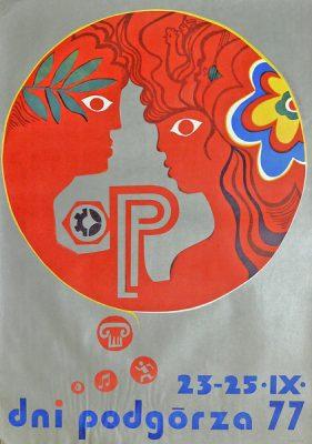 Oryginalny polski plakat reklamujący dni dzielnicy Podgórze w Krakowie w dniach 23-25.09.1977. Projekt plakatu: Jerzy Napieracz