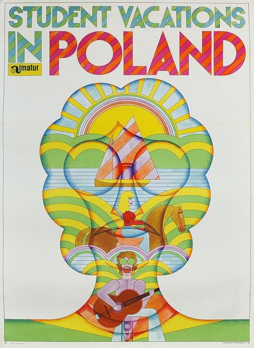 Oryginalny polski plakat turystyczny reklamujący studenckie wakacje w Polsce. Projekt plakatu: Andrzej Krajewski