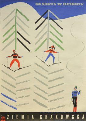 Plakat z lat 1960-tych. reklamujący narciarstwo w polskich górach Beskidach. Projekt plakatu Jerzy Napieracz
