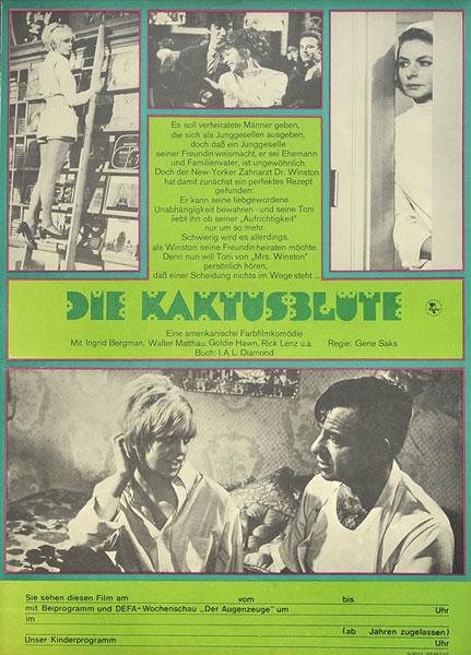 """Niemiecki plakat filmowy do filmu """"Die Kaktusblute"""". Projekt plakatu: 1976."""