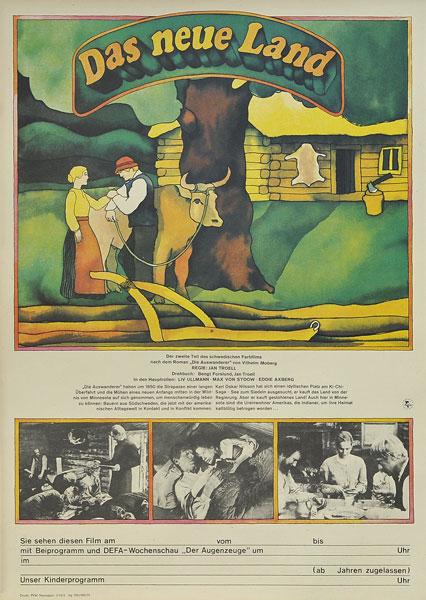 "Niemiecki plakat filmowy do filmu ""Das Neue Land"". Poster designed in 1975."