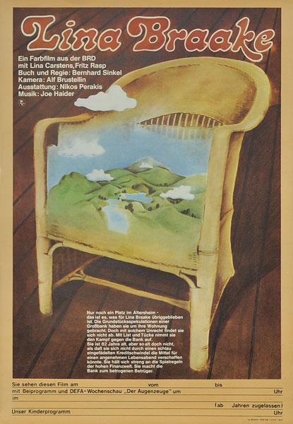 "Niemiecki plakat filmowy go filmu ""Lina Braake"". Projekt plakatu: 1976."