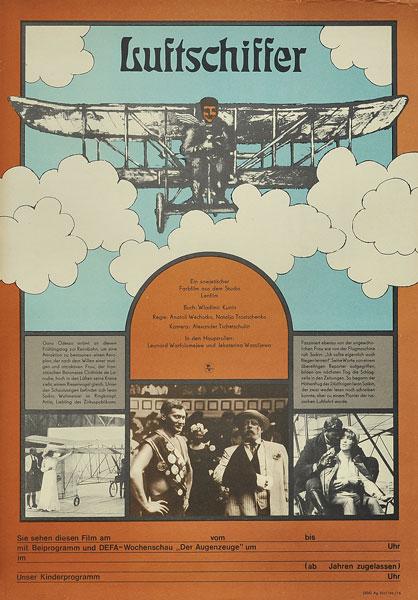 Niemiecki plakat filmowy do radzieckiego filmu lotniczego. Plakat wydany w nakładzie 5oo szt w 1976 r.