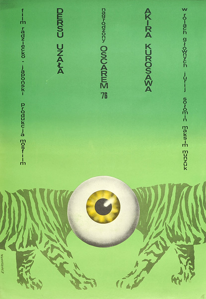 """Polski plakat filmowy do japońskiego-radzieckiego filmu """"Dersu Uzała"""". Reżyseria: Akira Kurosawa. Projekt plakatu: Bożena Jankowska"""