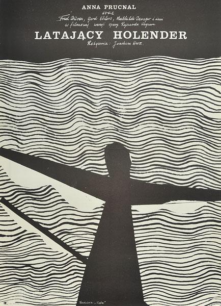 """Oryginalny polski plakat filmowy do filmu niemieckiego """"Latający Holender"""". Reżyseria: Joachim Herz. Projekt plakatu: Jacek Neugebauer"""