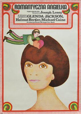 """Plakat filmowy do filmu angielskiego """"Romantyczna Angielka"""". Reżyseria: Joseph Losey. Projekt plakatu: Hanna Bodnar-Kaczyńska"""