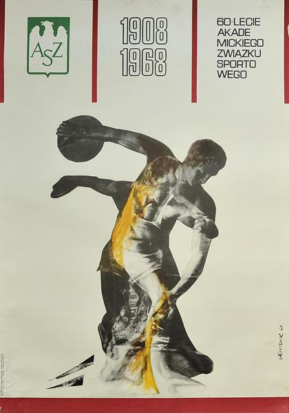 Plakat sportowy ogłaszający 60-lecie AZS (Akademickiego Związku Sportowego). Projekt plakatu: Sławomir Lewczuk