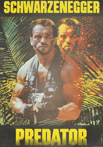 """Plakat filmowy do amerykańskiego filmu z Arnoldem Schwarzeneggerem """"Predator"""". Reżyseria: Paul W.S. Anderson. Projekt plakatu: 1989."""