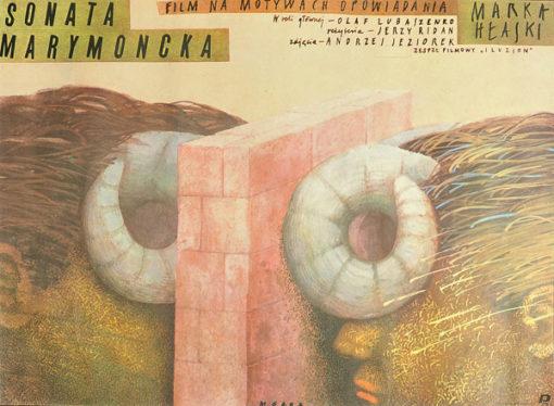"""Plakat filmowy do filmu na podstawie opowiadania Marka Hłaski """"Sonata marymoncka"""". Reżyseria: Jerzy Ridan. Projekt plakatu: MIROSŁAW GARA"""