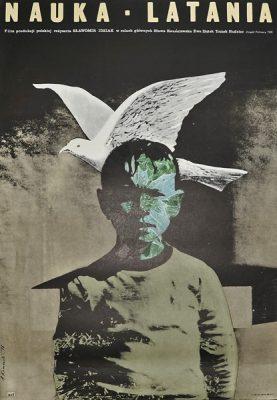 """Plakat filmowy do filmu polskiego """"Nauka latania"""". Reżyseria: Sławomir Idziak. Projekt plakatu: ANDRZEJ KLIMOWSKI"""