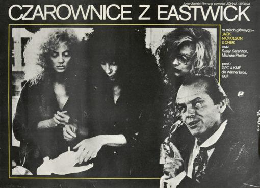 """Oryginalny polski plakat filmowy do amerykańskiego filmu """"Czarownice z Eastwick"""" z Jackiem Nickolsonem i Cher w rolach głównych. Projekt plakatu: JAKUB EROL"""