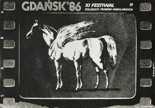 Oryginalny polski plakat reklamujący XI Festiwal Filmów Fabularnych w Gdańsku w 1986 r. Projekt plakatu: JAKUB EROL