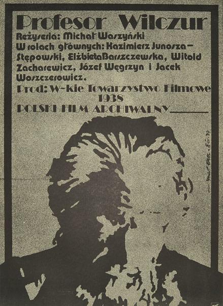 """Plakat filmowy polskiego filmu archiwalnego """"Profesor Wilczur"""". Reżyseria: Michał Waszyński. Projekt plakatu: JAKUB EROL"""