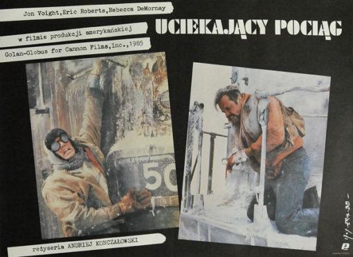 """Plakat filmowy do amerykańskiego filmu """"Uciekający pociąg """". Reżyseria: Andriej Konczałowski. Projekt plakatu: JAKUB EROL"""