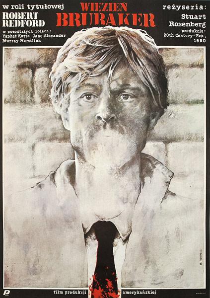 """Oryginalny plakat filmowy do amerykańskiego filmu """"Więzień Brubaker"""". Reżyseria Stuart Rosenberg. Plakat z 1984 r. Projekt: Witold Dybowski."""