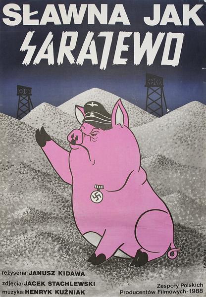 """Oryginalny plakat filmowy do polskiego filmu """"Sławna jak Sarajewo"""". Reżyseria Janusz Kidawa. Plakat z 1987 r. Projekt: Elżbieta Mikulska."""