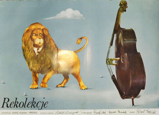 """Oryginalny plakat filmowy do polskiego filmu """"Rekolekcje"""". Reżyseria Witold Leszczyński. Plakat z 1977 r. Projekt: Maciej Urbaniec."""