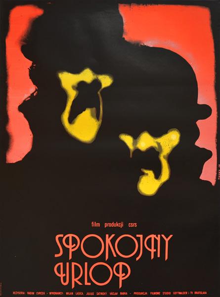 """Oryginalny plakat filmowy z 1979 r. do Czechosłowackiego filmu """"Spokojny urlop"""". Reżyseria Radim Cvrcek. Projekt: DANUTA BAGIŃSKA-ANDREJEW (DANKA)"""
