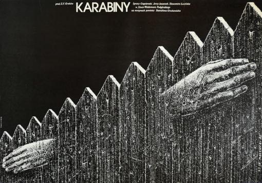 """Oryginalny plakat filmowy z 1982 r. do polskiego filmu """"Karabiny"""". Reżyseria Waldemar Podgórski. Projekt: LECH MAJEWSKI"""