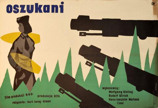 """Bardzo rzadki plakat filmowy do filmu niemieckiego """"Oszukani"""". Reżyseria Kurt Jung-Alsen. Projekt plakatu: WOJCIECH WENZEL"""