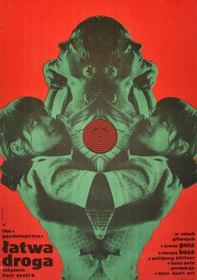 """Plakat filmowy do filmu niemieckiego """"Łatwa droga"""". Reżyseria Haro Senft. Projekt plakatu: RYSZARD KIWERSKI"""