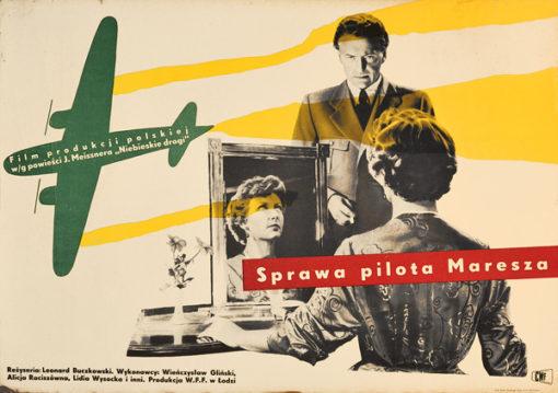 """Plakat filmowy do filmu polskiego """"Sprawa pilota Maresza"""". Reżyseria Leonard Buczkowski. Projekt plakatu: HENRYK TOMASZEWSKI (?)"""