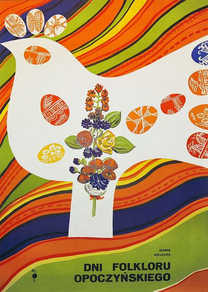Oryginalny polski plakat reklamujący Dni Folkloru Opoczyńskiego w 1972r. Projekt plakatu: JERZY NAPIERACZ