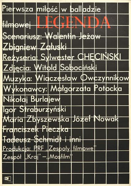 """Plakat filmowy do polskiego filmu """"Legenda"""". Reżyseria: Sylwester Chęciński. Projekt: 1971."""