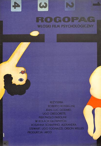 """Plakat filmowy do włoskiego filmu """"RoGoPaG"""". Reżyseria: Jean-Luc Godard"""