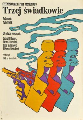"""Plakat filmowy do czechosłowackiego filmu """"Trzej świadkowie"""". Reżyseria: Palo Bielik. Projekt: MACIEJ ŻBIKOWSKI"""